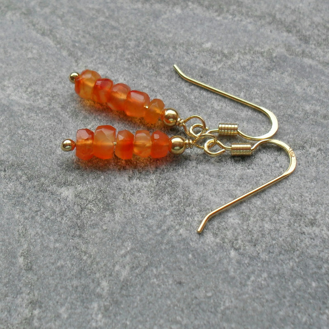 Carnelian Gold Vermeil Drop Earrings