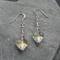 Sterling Silver Crystal Heart Earrings With Swarovski Elements Christmas Sparkle
