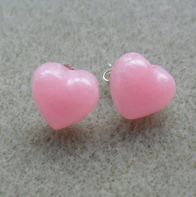 Sterling Silver Pink Heart Resin Stud Earrings