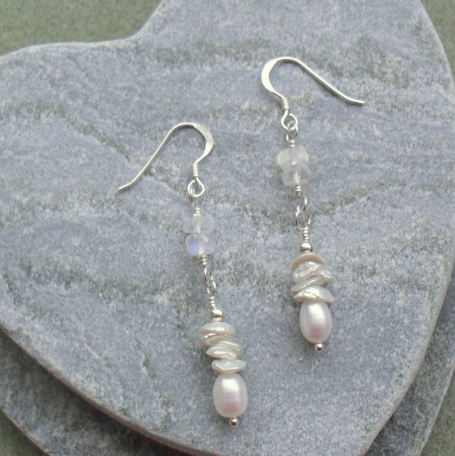 Freshwater Pearls Keishi Pearls and Moonstone Sterling Silver Earrings