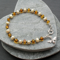 Baltic Amber Black Spinel and Freshwater Pearl Sterling Silver  Bracelet
