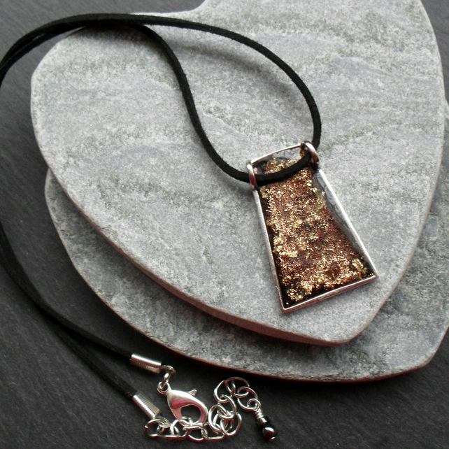 Black and Gold Resin Pendant