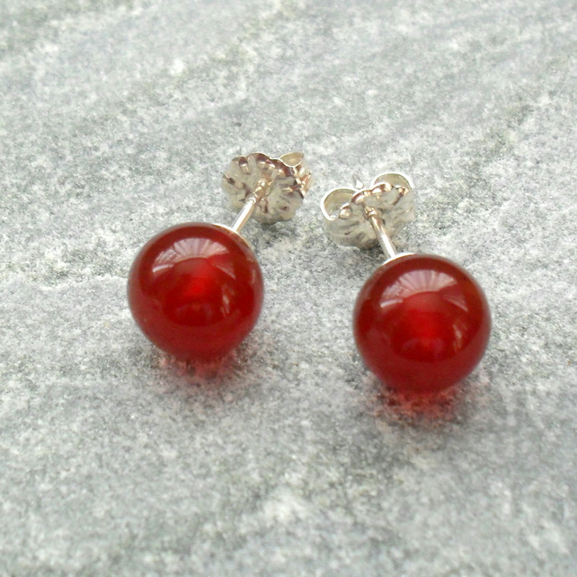 Sterling Silver Red Agate Stud Earrings