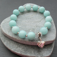 Aqua Quartzite Stretch Bracelet With Heart Charm