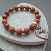 Goldstone and Copper Tone Stretch Bracelet