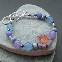 Czech Glass Flower Beads and Quartz Lilac and Blue Bracelet