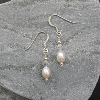 Sterling Silver Freshwater Pearl and Crystal Earrings Swarovski Elements