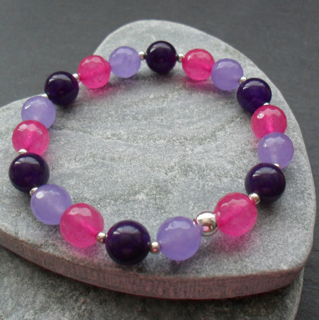 Purple Fuchsia and Lilac Quartz Stretch Bracelet