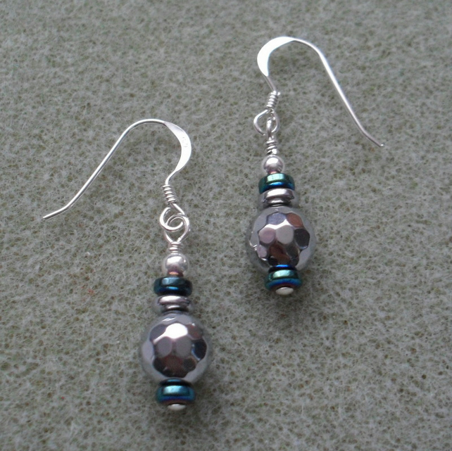 Silver Coated Haematite Sterling Silver Earrings