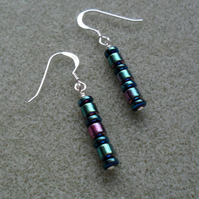 Sterling Silver Coated  Hematite Drop Earrings