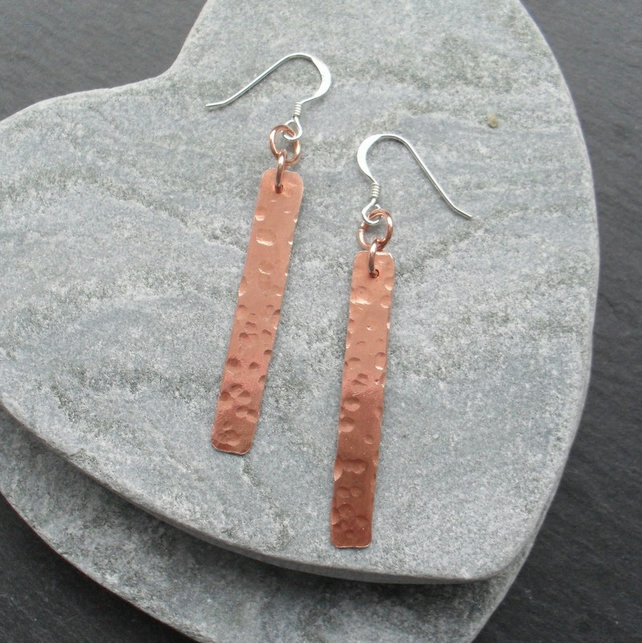 Sterling Silver and Copper Bar Earrings