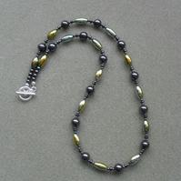 Green Gold and Natural Coloured Haematite Beaded Necklace