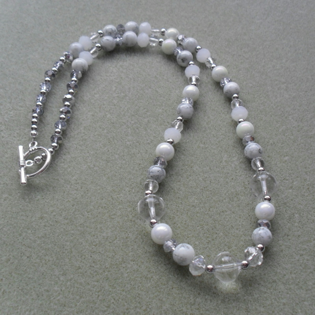 White and Silver Sparkle Glass Beaded Necklace