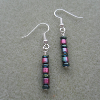 coated Haematite Drop Earrings Stocking Filler
