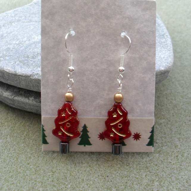 Christmas Tree Earrings Red With Czech Glass Christmas Earrings
