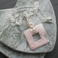 Rose Quartz Square Shaped Pendant Wire Wrapped