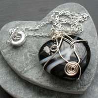 Black Agate Heart Pendant Wire Wrapped Pendant