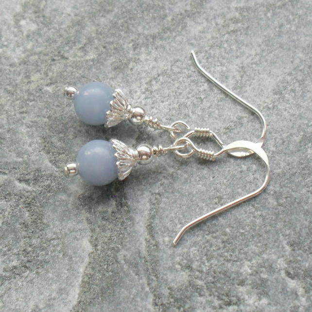 Angelite Dainty Drop Sterling Silver Earrings