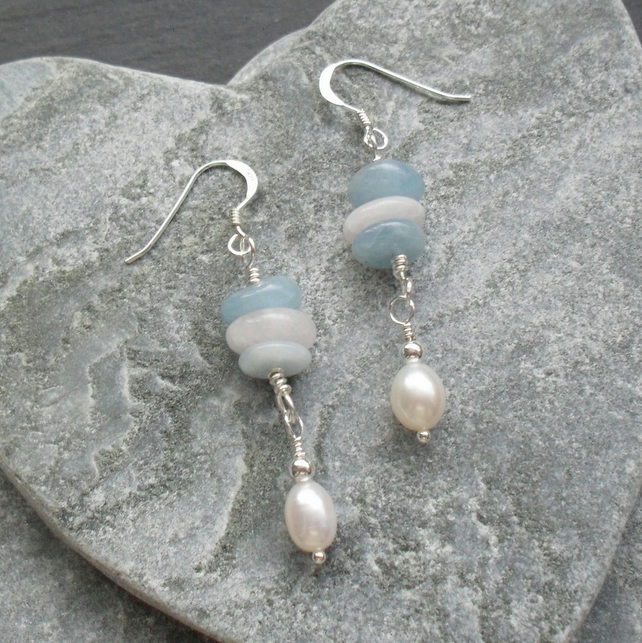 Aquamarine Morganite and Freshwater Pearl Sterling Silver Dangle Earrings