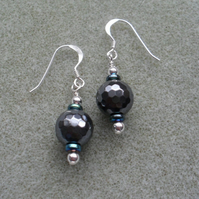 Haematite Drop Earrings Sterling Silver