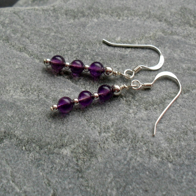 Amethyst Sterling Silver Earrings February Birthstone