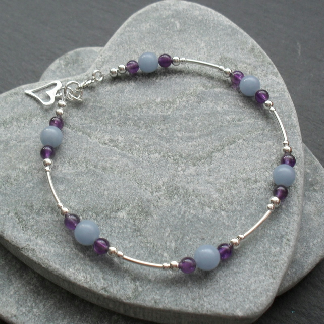 Angelite and Amethyst Bracelet Sterling Silver Stacker  Bracelet