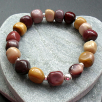 Mookite Semi Precious Gemstone Stretch Bracelet Sterling Silver