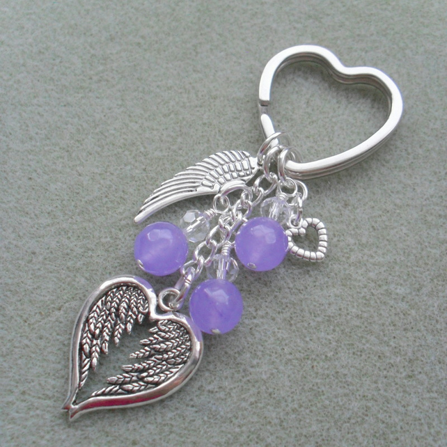 Angel Wings Feathers Keyring With Lilac Quartz