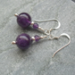 Amethyst Gemstone Sterling Silver Earrings February Birthstone