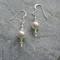 Sterling Silver Pearl and Crystals With Swarovski Elements