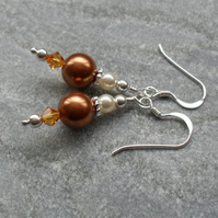 Bronze Pearl and Crystal Sterling Silver Earrings With Swarovski Elements