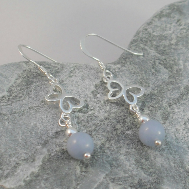 Sterling Silver Butterfly Earrings With Angelite Semi Precious Gemstones