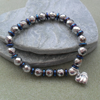 Silver and Blue Coated Haematite Stretch Bracelet Sparkle Bracelet