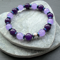 Purple and Lilac Quartz With Blue Haematite Stretch Bracelet