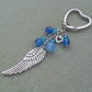 Angel Wing Keyring With Blue Quartz and Crystals