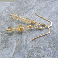Citrine Gold Vermeil Drop Earrings Gemstone Earrings