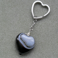 Heart Shaped Agate Keyring