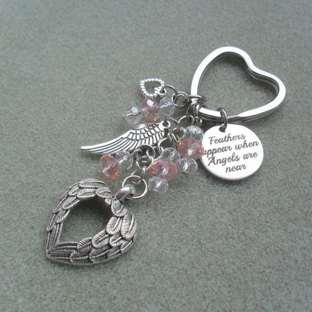 Angel Wings Feathers Keyring With Crystals