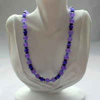 Lilac Quartz and Blue Haematite Beaded Necklace