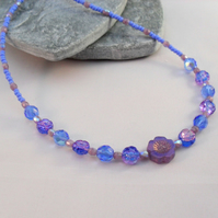 Purple Lilac and Blue Czech glass Flower Beaded Necklace