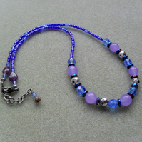 Lilac Blue and Silver Beaded Necklace With Semi Precious Gemstones