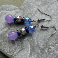 Lilac Quartz Haematite and Czech Glass Earrings