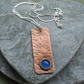 Copper Pendant with Blue Quartz Semi Precious Gemstone Vintage Style