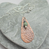 Copper Drop Pendant With Jadeite and Haematie Vintage Style