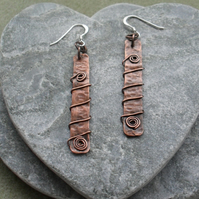 Oxidised Copper Dangle Earrings Vintage