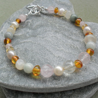 Gemstone and Freshwater Pearl Sterling Silver Bracelet