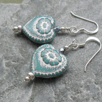 Sterling Silver Czech Glass Blue  Heart Drop Earrings