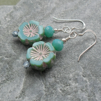 Czech Glass Turquoise Flower Sterling Silver Earrings