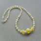 Yellow Fire Agate and Lampwork Glass Flower Beads Sterling Silver Necklace