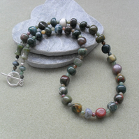 Fancy Jasper Semi Precious Gemstone Necklace